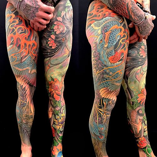 Colorful Full Leg Sleeve Tattoo