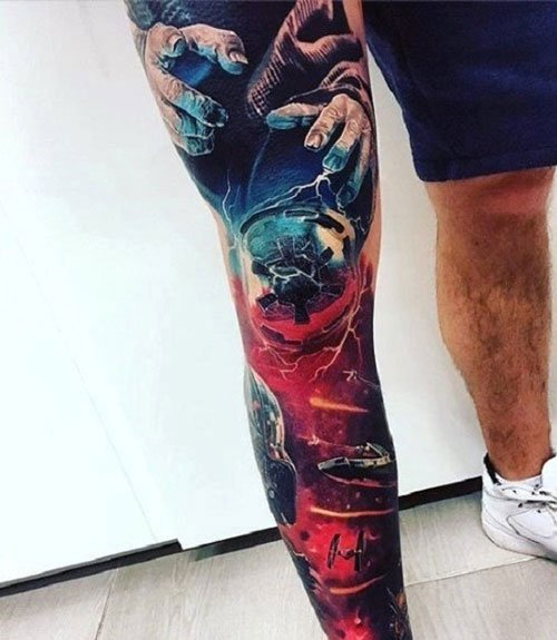 Colorful Leg Tattoo