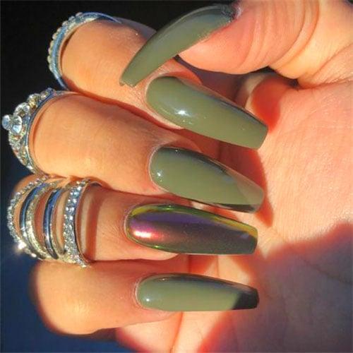 Fall Green Nails