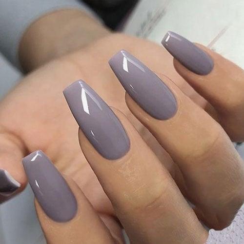 Fall Grey Coffin Nails
