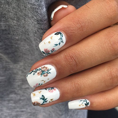 Floral White Fall Nails