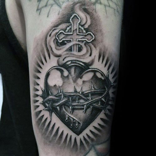 Heart and Cross Tattoo