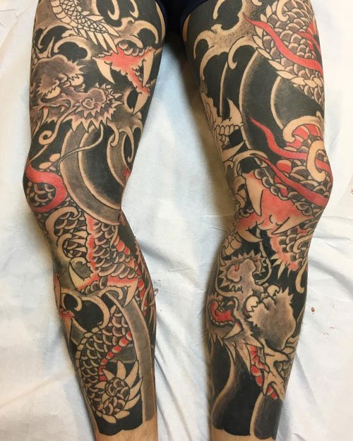 Japanese Leg Sleeve Tattoo