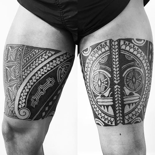 Male Tribal Thigh Tattoo