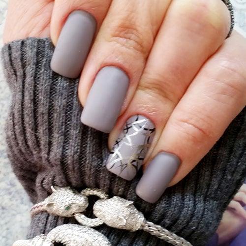 Matte Grey Nail Polish For Fall Nails