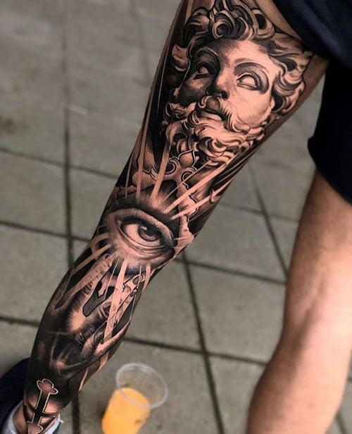 Religious Leg Tattoo
