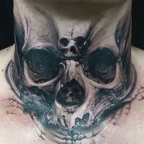 Skull Throat Tattoo