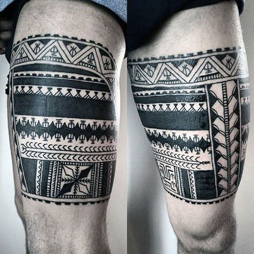 Tribal Thigh Sleeve Tattoo For Men