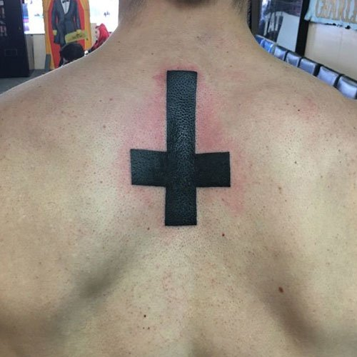 Upside Down Cross Tattoo