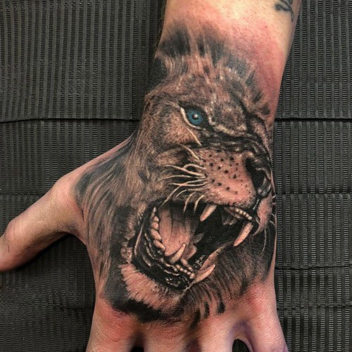 Cool Lion Hand Tattoo