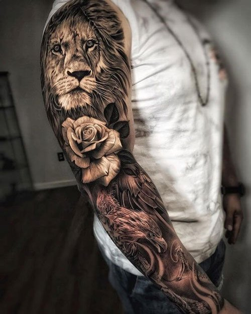 Lion Sleeve Tattoo Ideas For Men