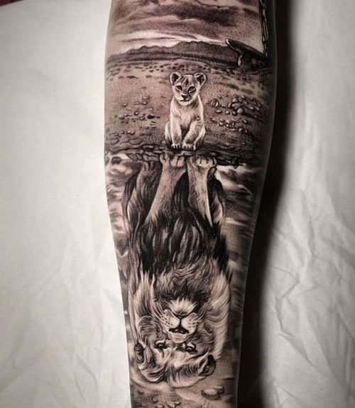 Lion and Cub Tattoo