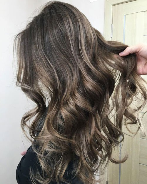 Ash Brown Hair with Caramel Highlights