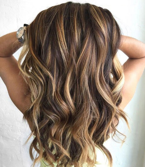 Brown Hair with Blonde and Caramel Highlights