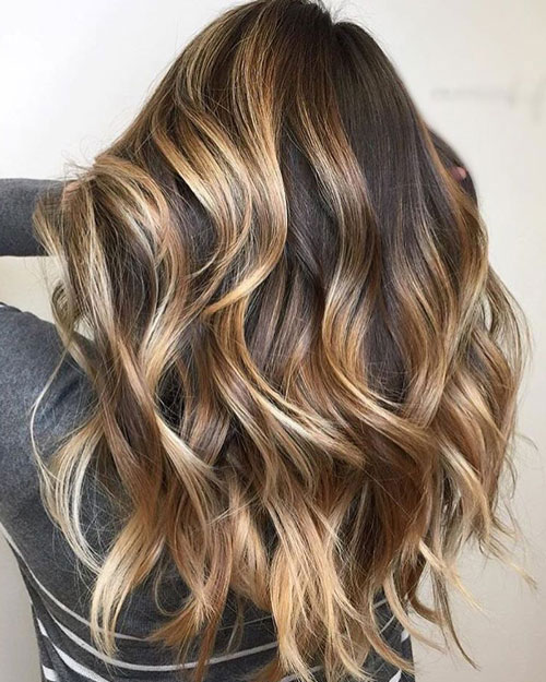 Brunette with Caramel and Blonde Highlights