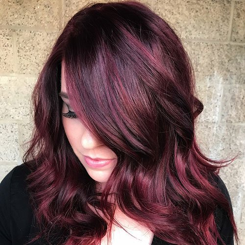 Burgundy Brown Hair with Bold Red Highlights