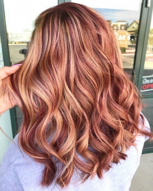 Caramel Color Hair with Blonde and Auburn Highlights
