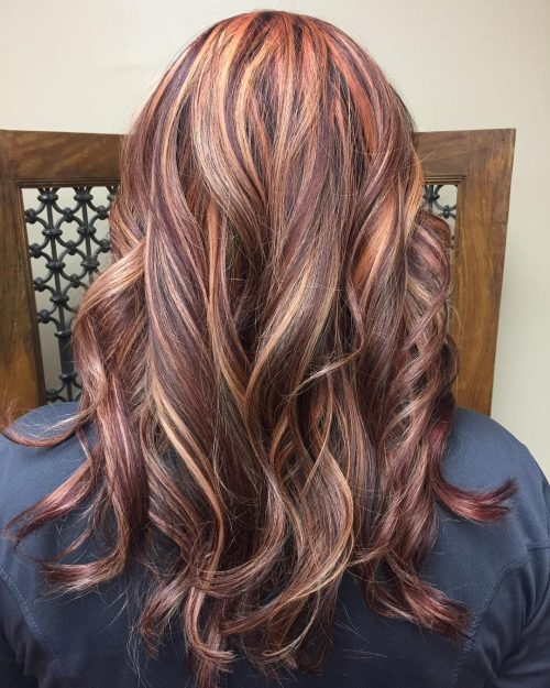 Chocolate Brown Hair with Red and Light Brown Highlights