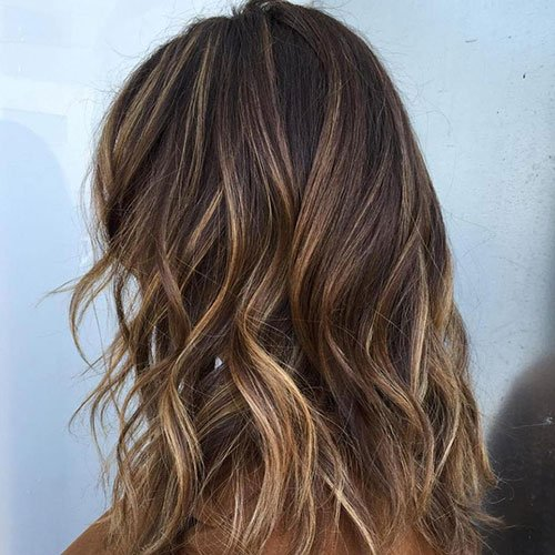Chocolate Hair with Blonde and Caramel Highlights