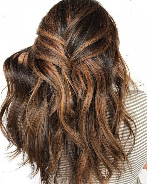 Dark Brown Hair with Toffee Highlights