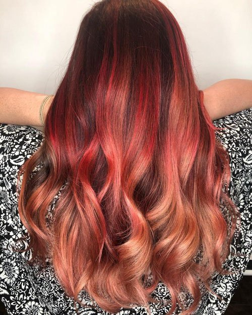 Dark Brown Hair with Vibrant Red Highlights