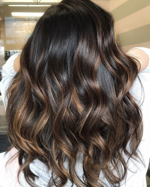 Dark Chocolate Hair with Caramel Highlights