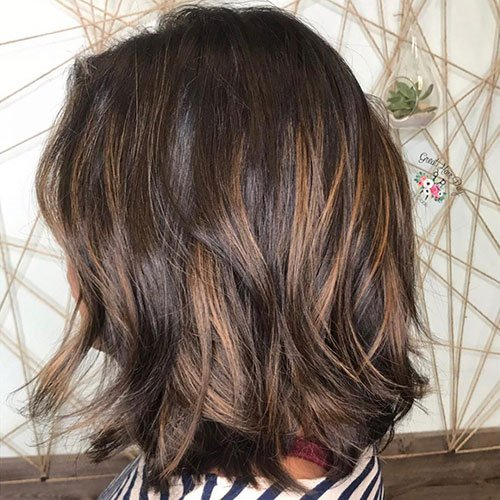 Deep Brunette Hair Color with Caramel Highlights