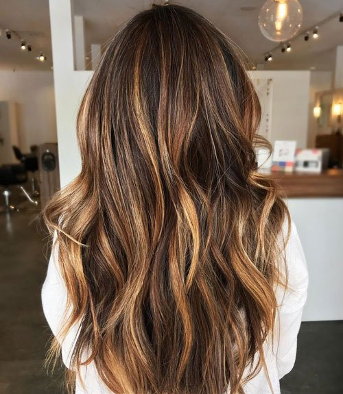 Golden Highlights in Dark Brown Hair