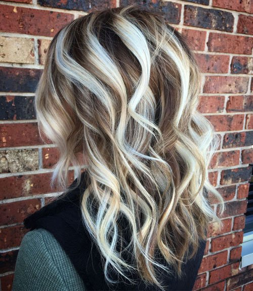 Icy Blonde Highlights in Brown Hair