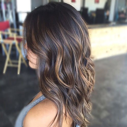 Medium Brown Hair Color with Highlights