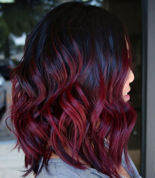 Mid Length Dark Red Hair