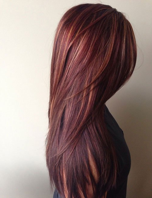 Red-Brown Hair with Blonde Highlights