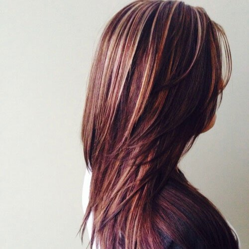 Red and Blond Highlights on Dark Hair