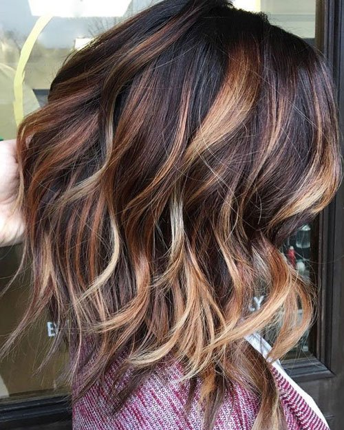 Rich Brown Hair with Blonde and Caramel Highlights
