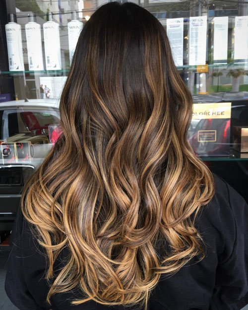 Warm Blonde Highlights in Brown Hair