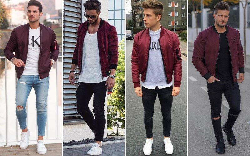 Burgundy Bomber Jacket Outfit