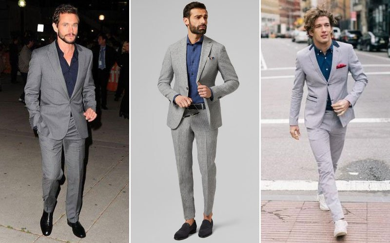 Grey Suit Navy Shirt