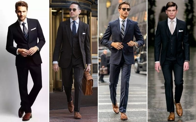 Black Suit with Brown Shoes