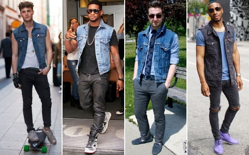 Denim Vest Jacket Outfits For Men
