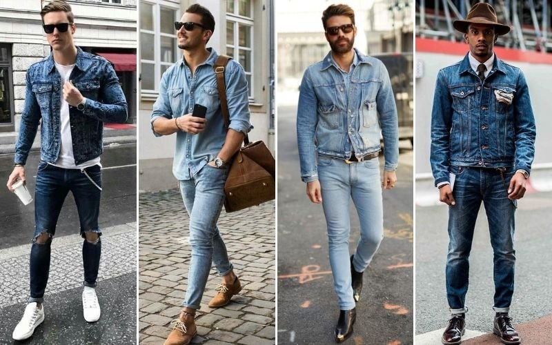 Double Denim Jacket Outfits Men