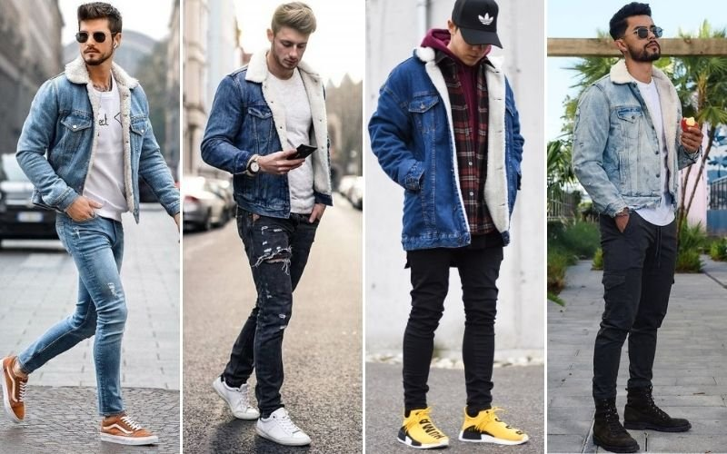 Shearling Denim Jacket Outfits Men