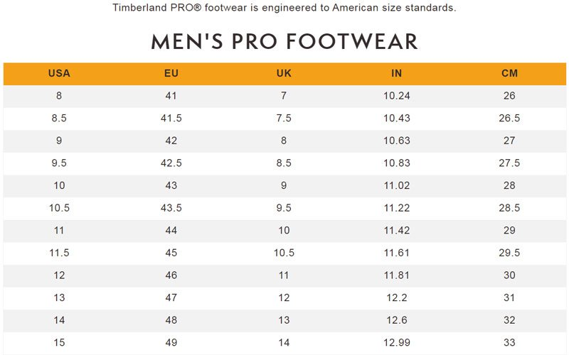 Timberland Boots Size Guide