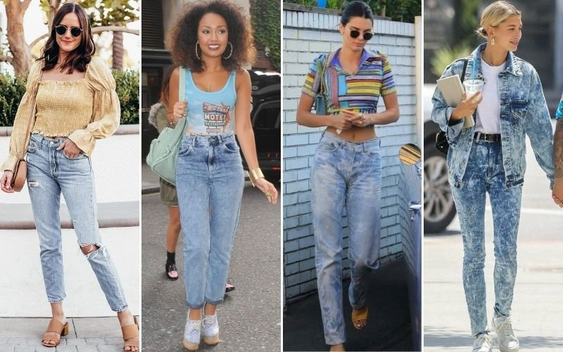 Acid Wash Mom Jeans Outfits
