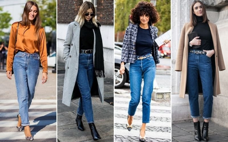 Blue Mom Jeans Outfits