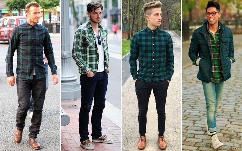 Green Flannel Outfits