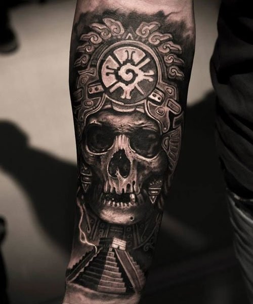 Aztec Skull Tattoo