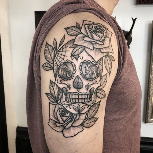 Day of the Dead Skull Tattoo