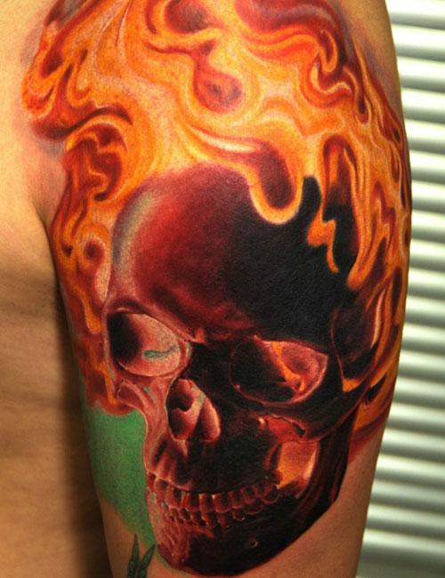 Flaming Skull Tattoo Design Ideas
