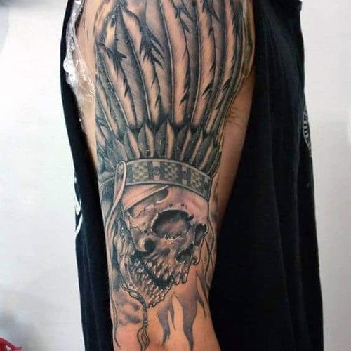 Skull Feather Tattoo Design Ideas