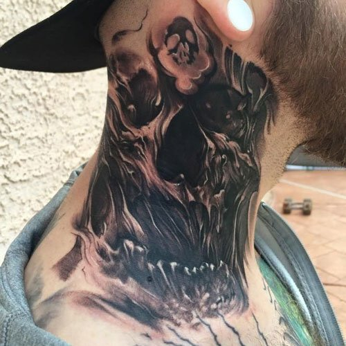 Skull Neck Tattoo Design Ideas